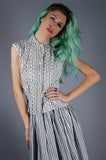 Striped Two Piece Eyelet Shirt and Skirt - Embers / Cinders Vintage