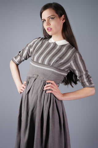 Gray Dress With Striped Bolero - Embers / Cinders Vintage