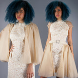 Illusion Lace Dress with Convertible Skirt / Shawl - Embers / Cinders Vintage