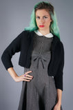 Black Wool Cropped Cardigan Sweater - Embers / Cinders Vintage