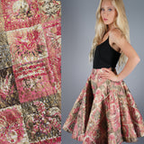 Pink Gold Atomic Print Quilted Circle Skirt