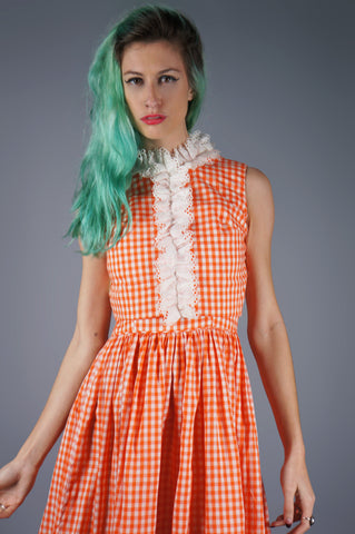 Orange Gingham Ruffle Dress with Crop Top