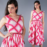 Plaid Pink Tie Sleeve Dress - Embers / Cinders Vintage