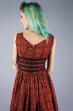 Red and Black Floral Dress with Velvet Ribbon Waist - Embers / Cinders Vintage