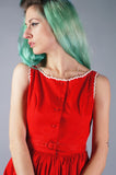 Red Day Dress with White Floral Rick Rack - Embers / Cinders Vintage