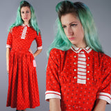 Red Abstract Floral Print Dress with Bow Tie Neck - Embers / Cinders Vintage