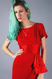 Red Wool Dress with Sash - Embers / Cinders Vintage