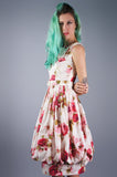 Jerry Gilden Rose Print Dress with Balloon Hem