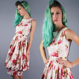 Jerry Gilden Rose Print Dress with Balloon Hem - Embers / Cinders Vintage