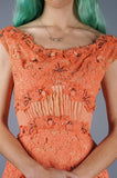 Pink Lace, Rosettes, Rhinestone and Pintucks Dress - Embers / Cinders Vintage