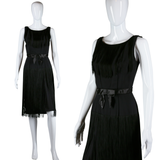 Black Crepe Long Fringe Dress - Embers / Cinders Vintage