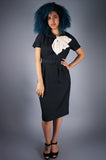 Silk Black Dress with Ivory Bow Neck
