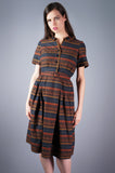 Brown Geometric Print Shirt Dress - Embers / Cinders Vintage