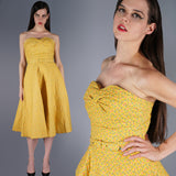 Yellow Floral Bustier Dress with Quilted Jacket