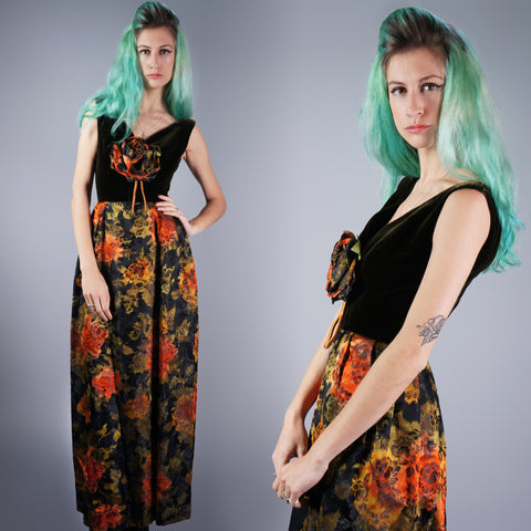 Vintage 50s Couture Rose Print Brocade and Velvet Gown -  - 1