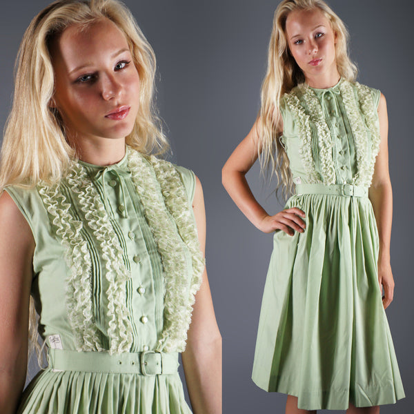 Vintage 50s Tuxedo Ruffle Pastel Green Dress by Teena Paige -  - 1
