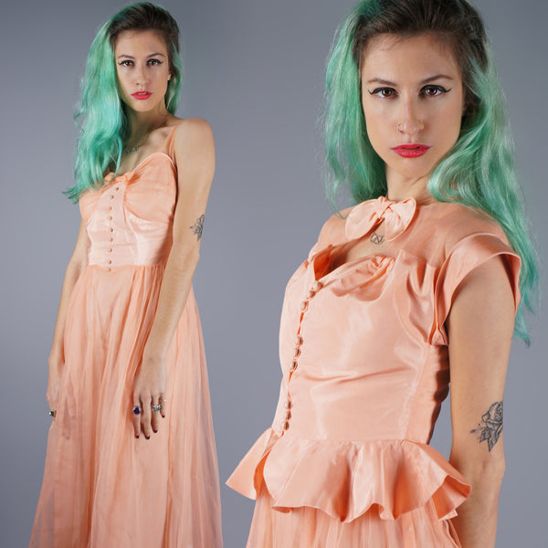 Vintage 50s Peach Organza Dress With Matching Peplum Two Piece Boudoir Gown -  - 1