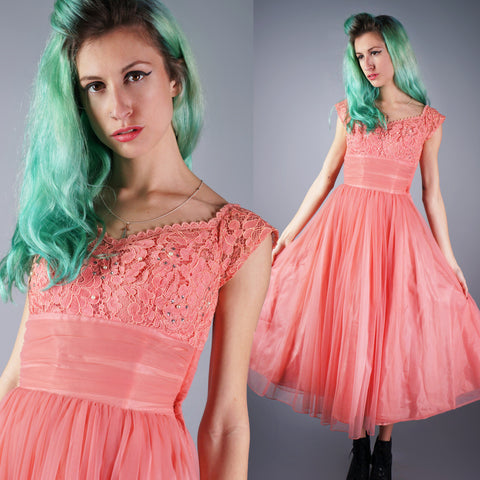 Vintage 50s Bubblegum Pink Chiffon Tulle Cupcake Dress with Rhinestones and Lace -  - 1