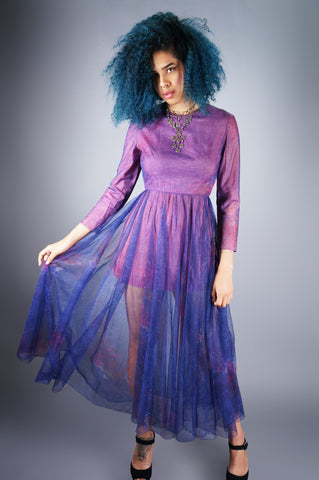 Purple Sheer Peek-a-Boo Maxi Dress - Embers / Cinders Vintage
