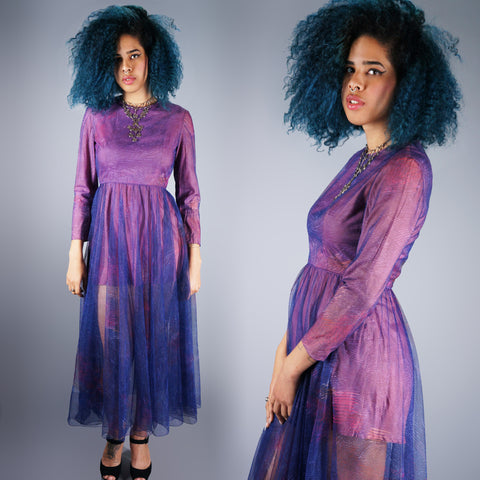 Vintage 60s Purple Sheer Peek-a-Boo Maxi Dress with Full Sweep Skirt -  - 1
