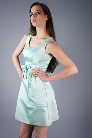 Satin Rhinestone Dress with Bow Waist
