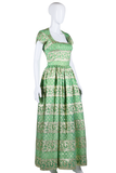 Green and Gold Brocade Maxi Dress - Embers / Cinders Vintage