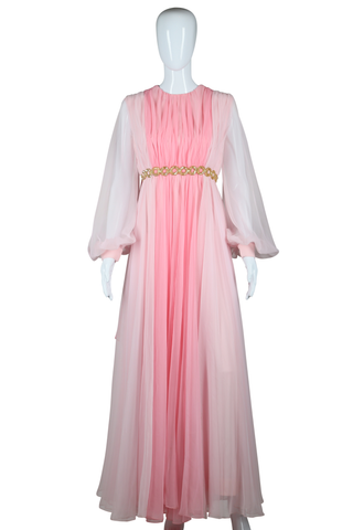 Pink Voluminous Chiffon Gown