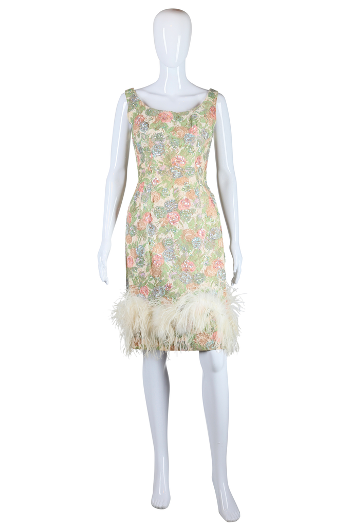 Sequin Lace Rose and Ostrich Feather Dress