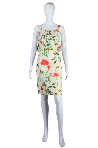Suzy Perette Silk Rose Print Dress