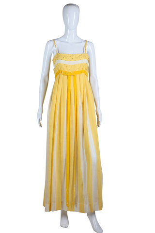 Yellow and White Striped Rhinestone Maxi Dress