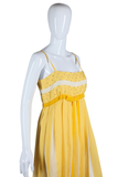 Yellow and White Striped Rhinestone Maxi Dress - Embers / Cinders Vintage