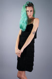 Black Velvet Fringe Sheer Go Go Dress - Embers / Cinders Vintage