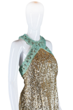 Gold Sequin and Ice Blue Beaded Dress - Embers / Cinders Vintage