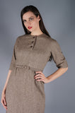 Brown Heather Wool Dress with Belt - Embers / Cinders Vintage