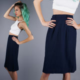 Navy Blue Wool Pencil Skirt - Embers / Cinders Vintage
