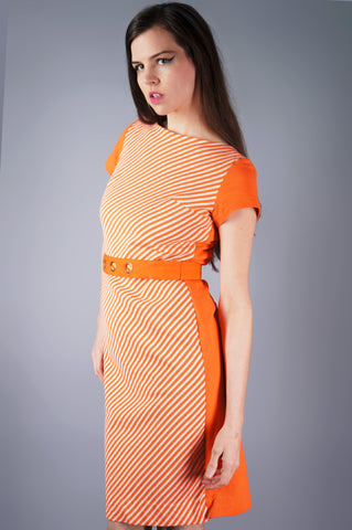 Orange and White Striped Dress with Grommet Belt