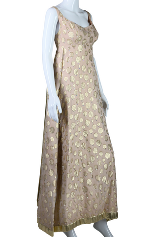 Beige and Gold Polka Dot Bejeweled Maxi Dress - Embers / Cinders Vintage