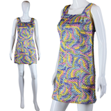 Psychedelic Lurex Quilted Mini Dress