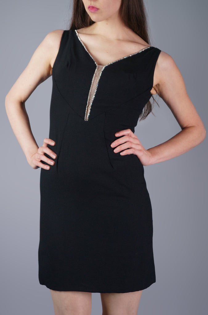 Deep V Cut Out Rhinestone Dress - Embers / Cinders Vintage