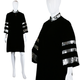 Black Velvet and Sequin Swing Coat - Embers / Cinders Vintage