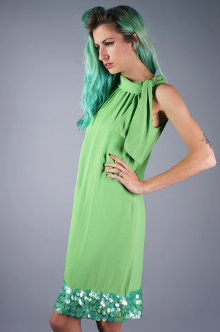 Lime Green Shift Dress with Pailette Hem