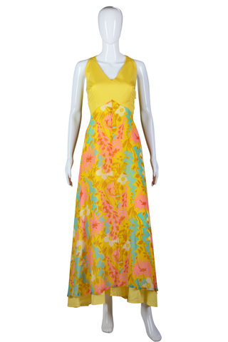 Yellow Bold Print Maxi Dress - Embers / Cinders Vintage