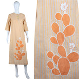 Cactus Applique Dress - Cotton Lounge Caftan - Embers / Cinders Vintage
