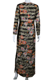 Dynasty Asian Motif Floral Lurex Maxi Dress - Embers / Cinders Vintage