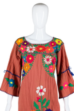 Mexican Embroidered House Dress - Embers / Cinders Vintage