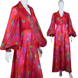 Dynasty Red Bishop Sleeve Maxi Dress - Embers / Cinders Vintage