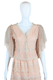 Lace Ruffle Two Piece Set - Skirt and Top - Embers / Cinders Vintage