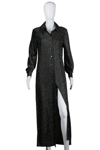 Long Sleeve Button Down Lurex Maxi Dress