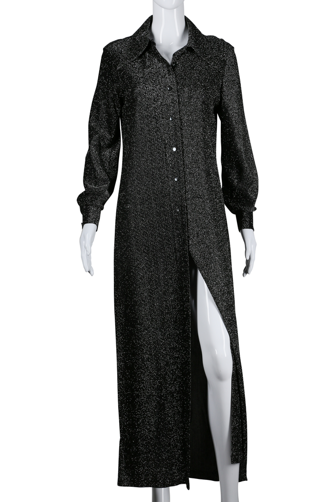 Long Sleeve Button Down Lurex Maxi Dress - Embers / Cinders Vintage