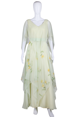 Pastel Green Hand Painted Maxi Dress - Embers / Cinders Vintage